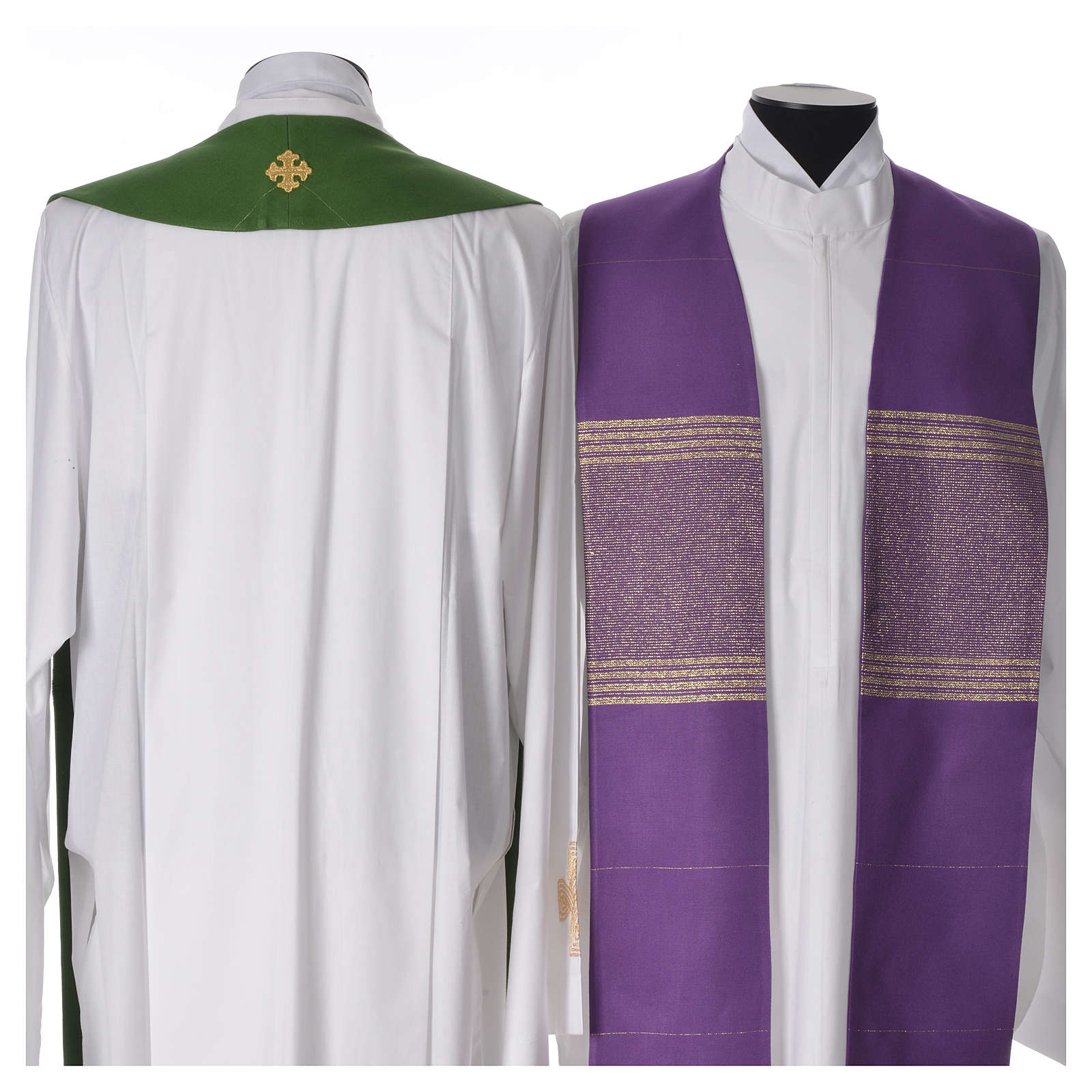 Minister Stole in 90% bamboo and 10% natural viscose with golden cross 4