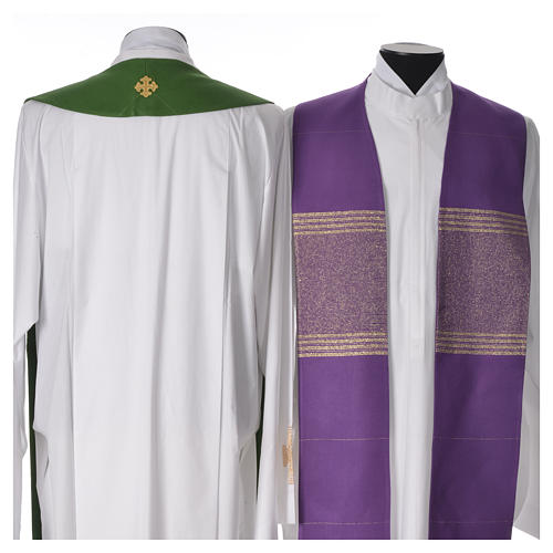Minister Stole in 90% bamboo and 10% natural viscose with golden cross 2