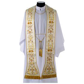 Étoles liturgiques: Étole satin brodé machine frange et noeuds en canotille