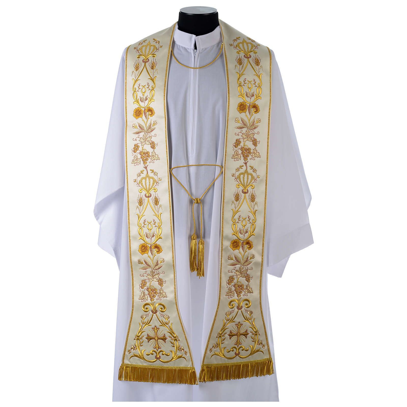 Clergy Stole in satin, machine embroidered with fringes and tassels 4