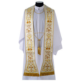 Clergy Stole in satin, machine embroidered with fringes and tassels s1