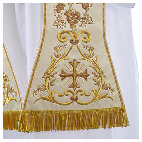 Clergy Stole in satin, machine embroidered with fringes and tassels s2
