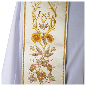 Clergy Stole in satin, machine embroidered with fringes and tassels s3