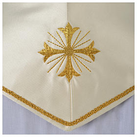 Clergy Stole in satin, machine embroidered with fringes and tassels s5