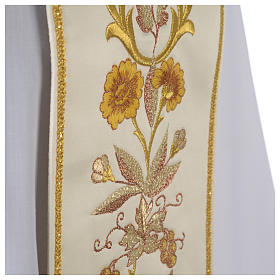 Clergy Stole in satin, machine embroidered with fringes and tassels s6