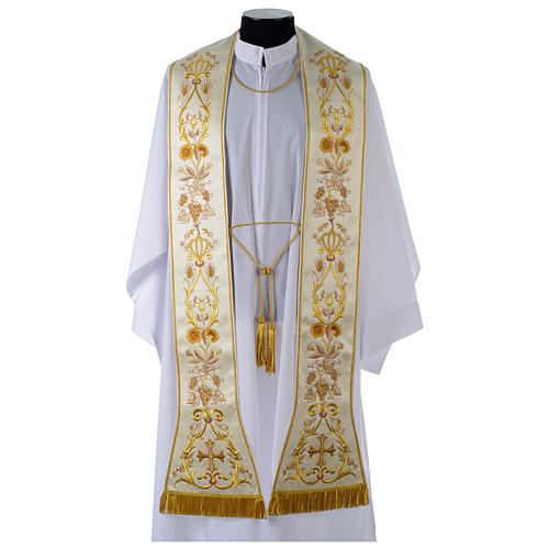 Clergy Stole in satin, machine embroidered with fringes and tassels 1