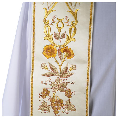 Clergy Stole in satin, machine embroidered with fringes and tassels 3