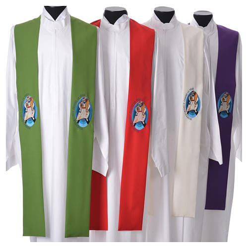STOCK Pope Francis' Jubilee Big Stole with FRENCH machine embroided logo 1