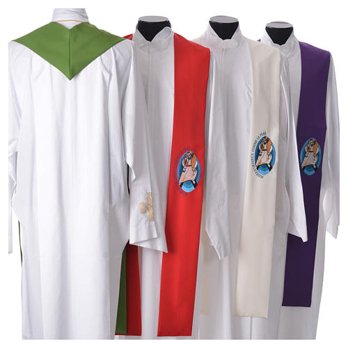 STOCK Pope Francis' Jubilee Big Stole with FRENCH machine embroided logo 2