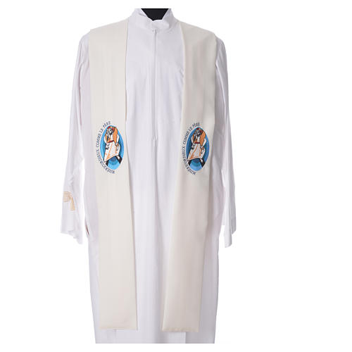 STOCK Pope Francis' Jubilee Big Stole with FRENCH machine embroided logo 4