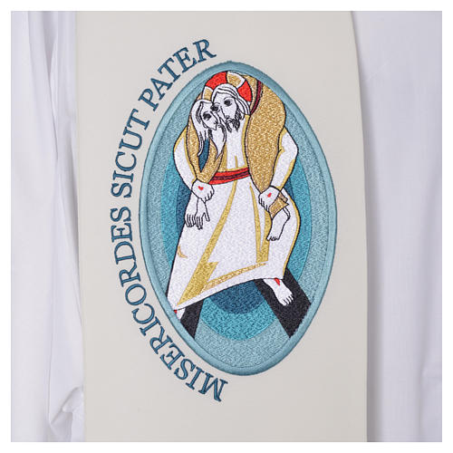 STOCK Estola Jubileu Papa Francisco LATIM misto bordado máquina 3