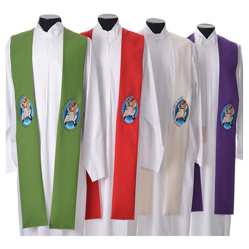 STOCK Pope Francis' Jubilee Big Stole with SPANISH machine embroided logo 1
