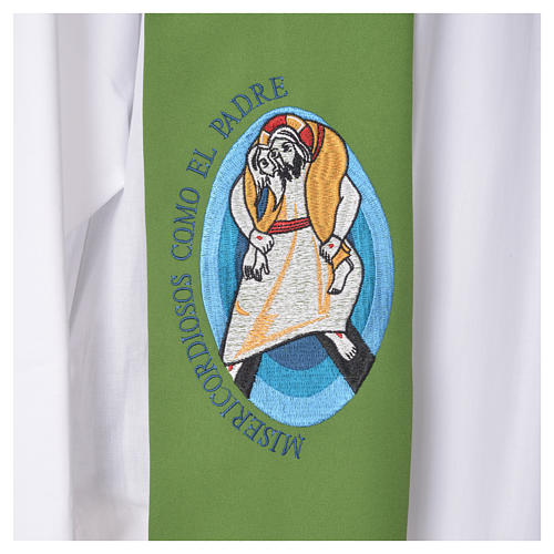 STOCK Pope Francis' Jubilee Big Stole with SPANISH machine embroided logo 7
