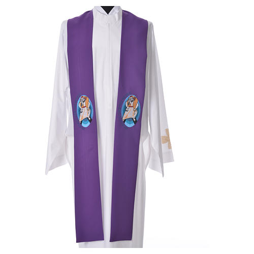 STOCK Pope Francis' Jubilee Big Stole with ENGLISH machine embroided logo 3
