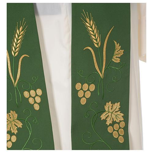 Estola sacerdotal espiga uva hoja bordado dorado 2