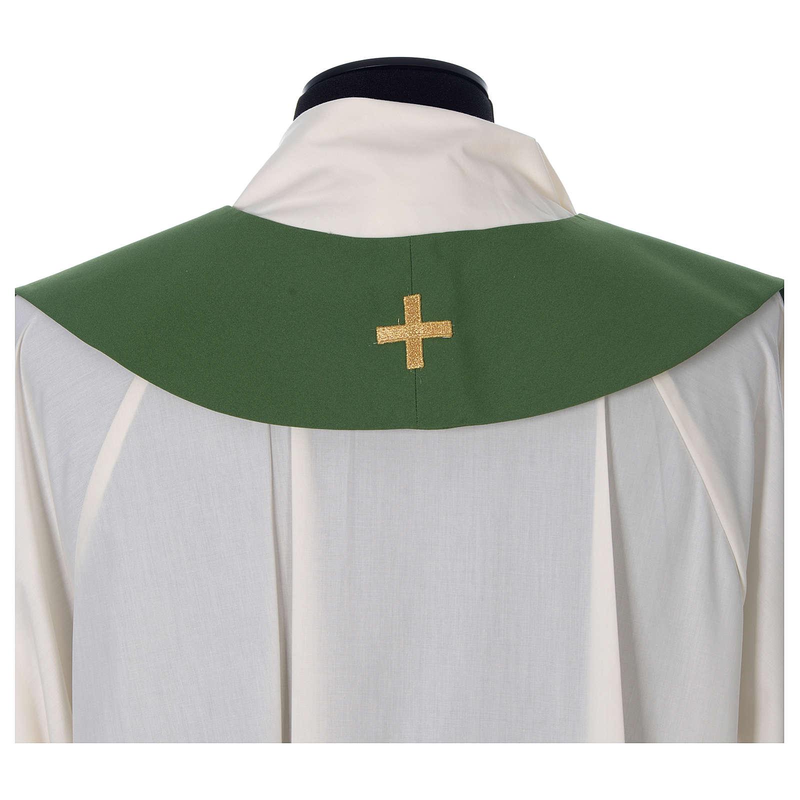 Étole prêtre épi raisin feuille broderie dorée 4