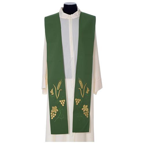 Étole prêtre épi raisin feuille broderie dorée 1