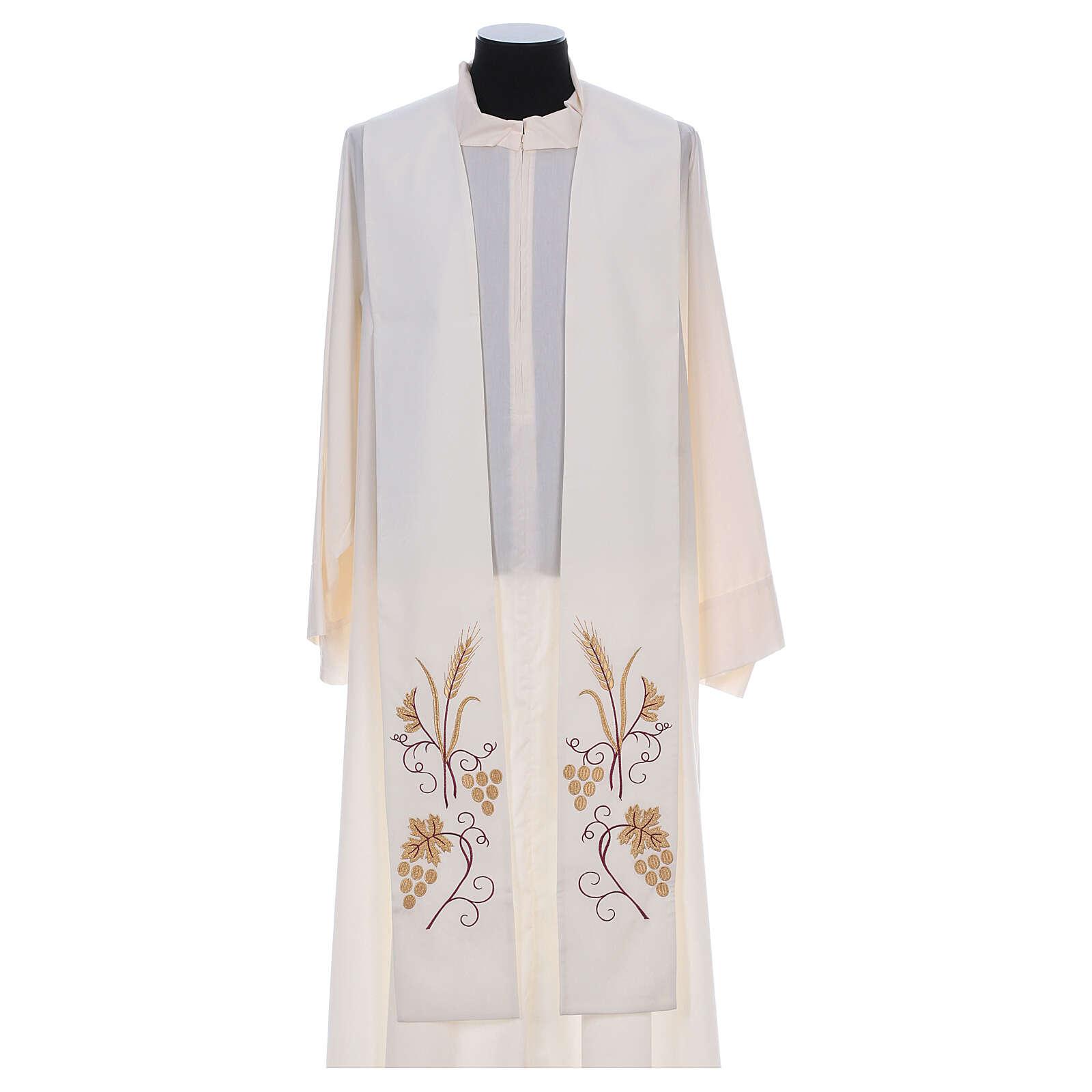 Stola sacerdotale spiga uva foglia ricamo dorato 4