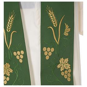 Stola sacerdotale spiga uva foglia ricamo dorato s2