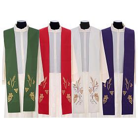 Stola sacerdotale spiga uva foglia ricamo dorato s1