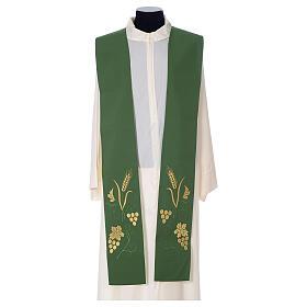 Stola sacerdotale spiga uva foglia ricamo dorato s3