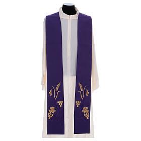 Stola sacerdotale spiga uva foglia ricamo dorato s6