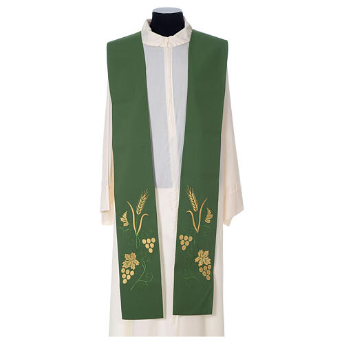 Stola sacerdotale spiga uva foglia ricamo dorato 3