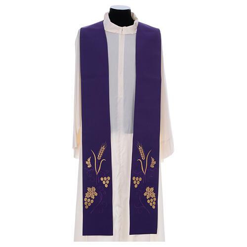 Stola sacerdotale spiga uva foglia ricamo dorato 6