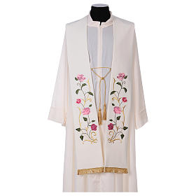 Priest stoles and Deacon stoles: Stole in polyester canvas with roses and leaves
