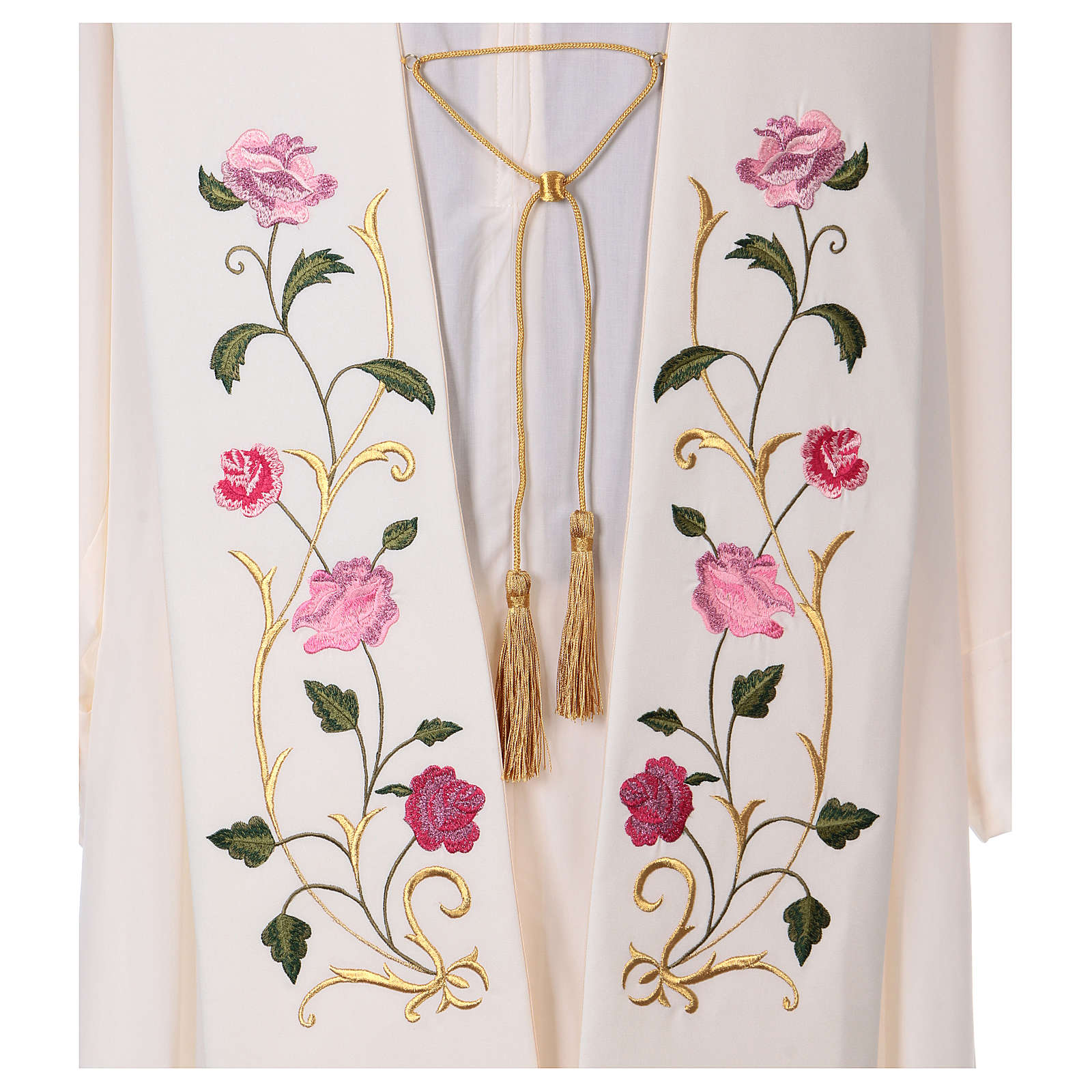 Estola tela poliéster rosas y hojas 4