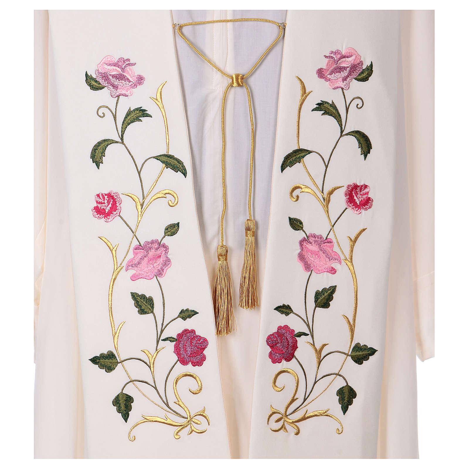 Étole toile polyester roses et feuilles 4