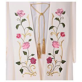 Étole toile polyester roses et feuilles s2