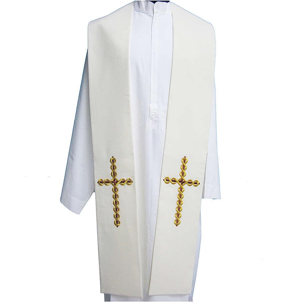 Estola tela poliéster bordados entrelazados sobre la cruz 4