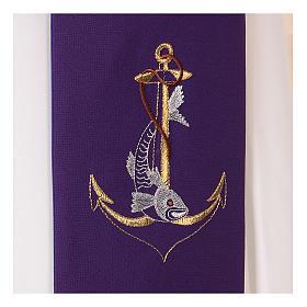 Étole toile polyester ancre dorée corde et poisson s2