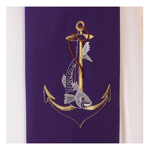 Étole toile polyester ancre dorée corde et poisson 2
