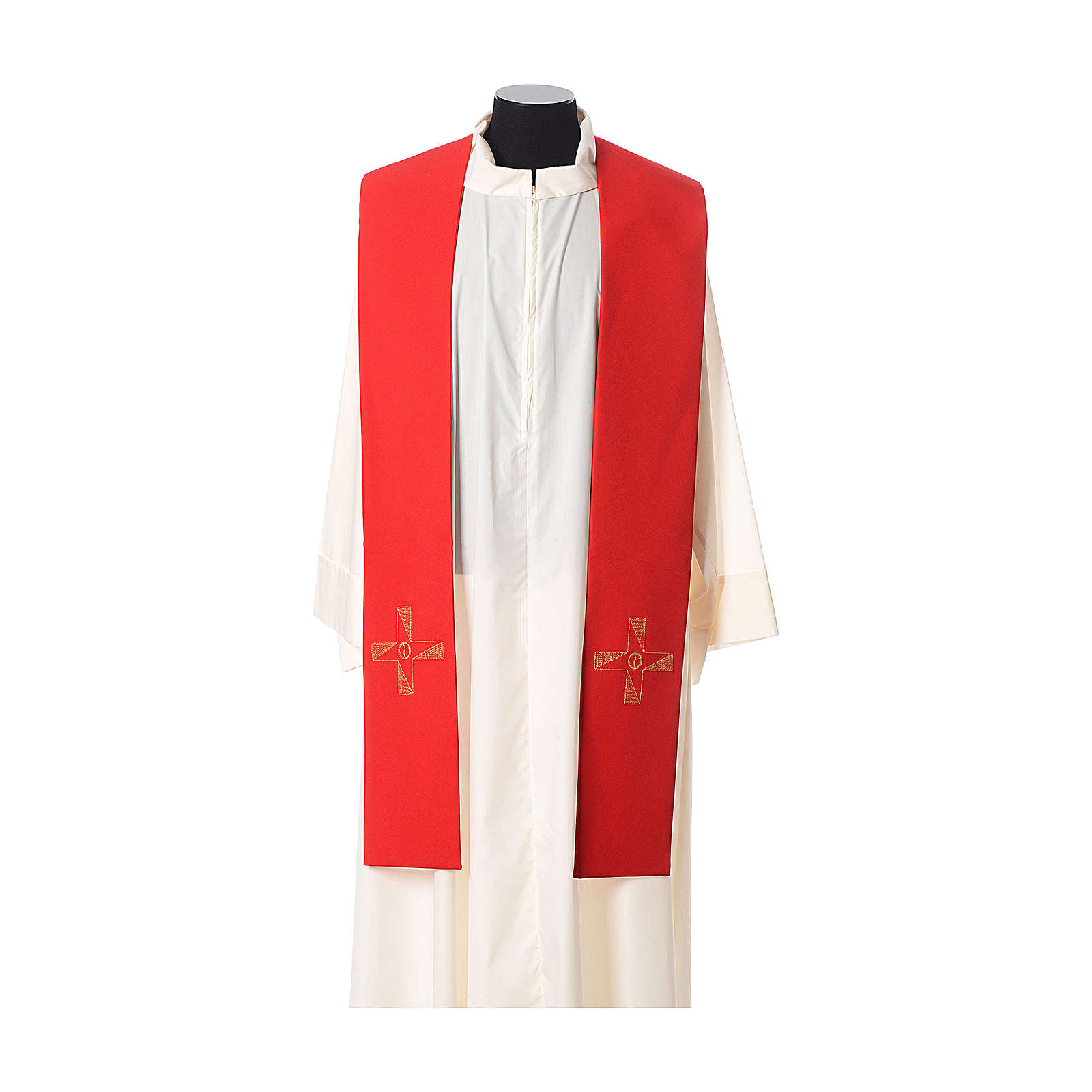 Étole tissu polyester croix avec broderie en forme d'hélice 4