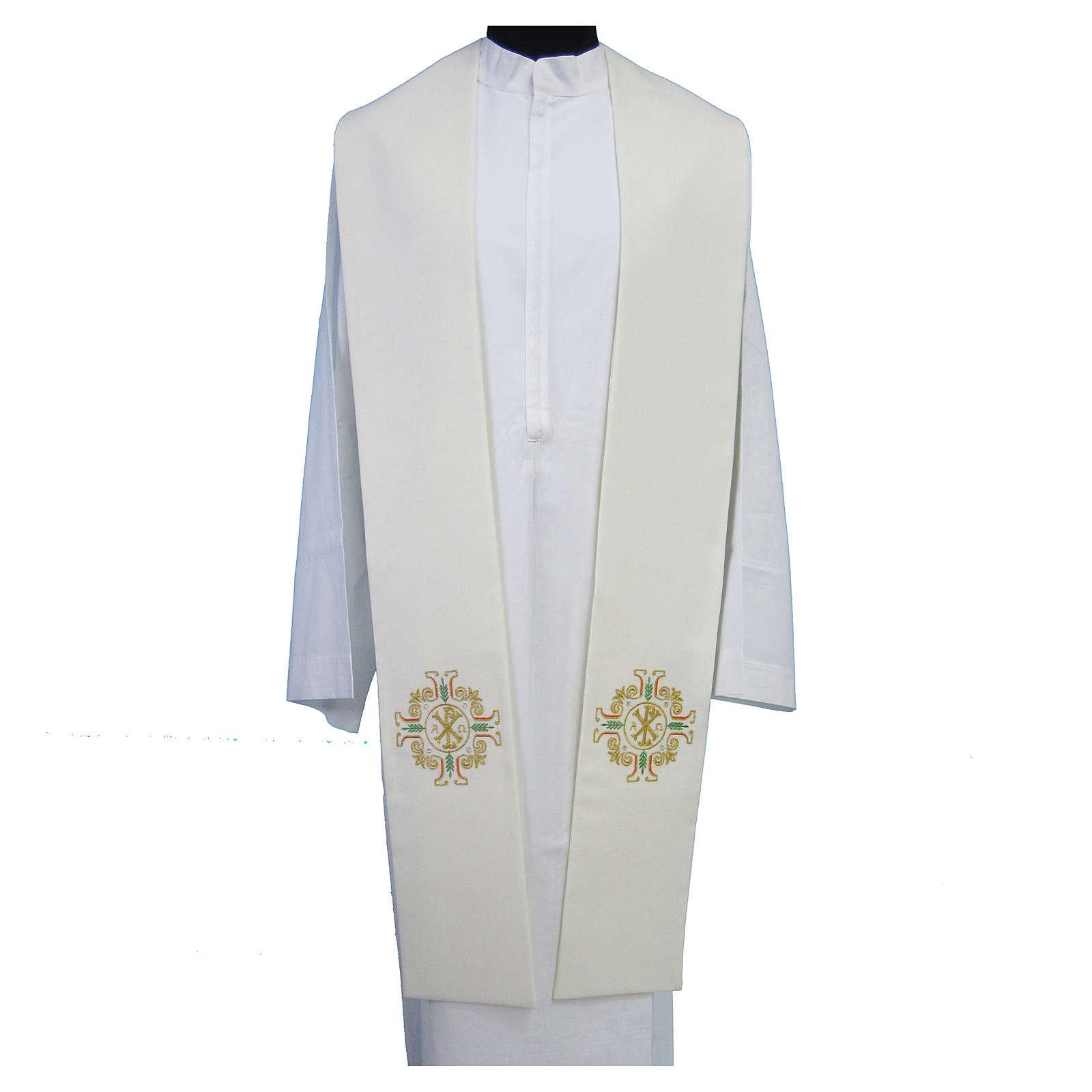 Étole Chi-Rho Alpha Oméga broderie dorée croix 4