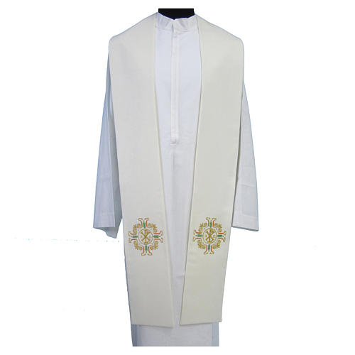 Étole Chi-Rho Alpha Oméga broderie dorée croix 1