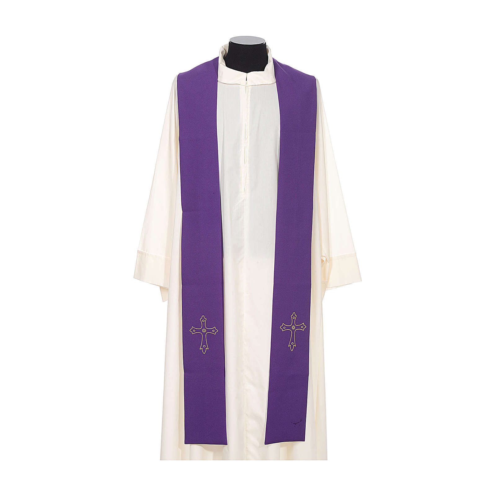 Priest Stole with gold cross embroidered on both panels 4