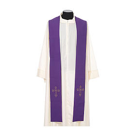 Priest Stole with gold cross embroidered on both panels s6