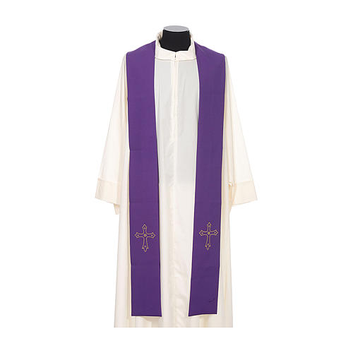 Priest Stole with gold cross embroidered on both panels 6