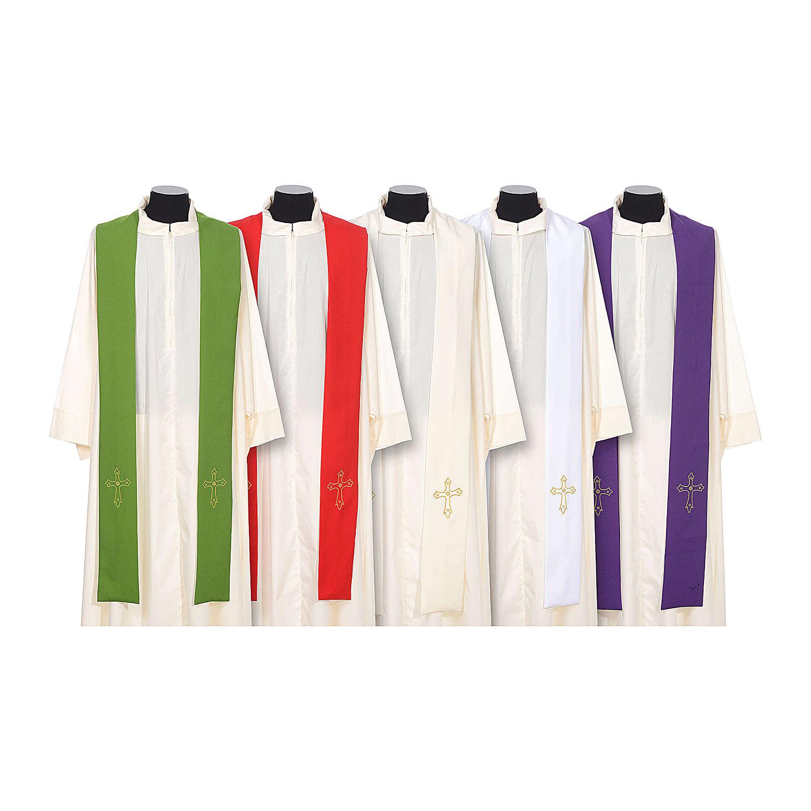 Étole de prêtre broderie simple sur deux côtés tissu Vatican 4
