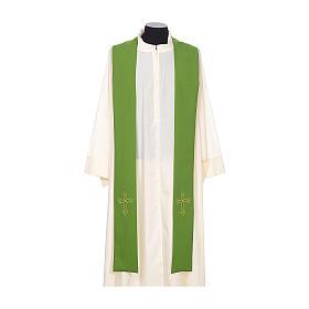 Étole de prêtre broderie simple sur deux côtés tissu Vatican s2