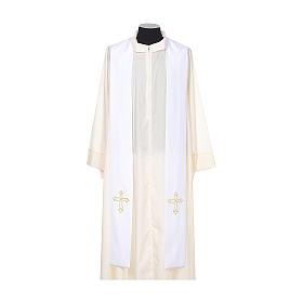 Étole de prêtre broderie simple sur deux côtés tissu Vatican s5