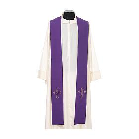 Étole de prêtre broderie simple sur deux côtés tissu Vatican s6