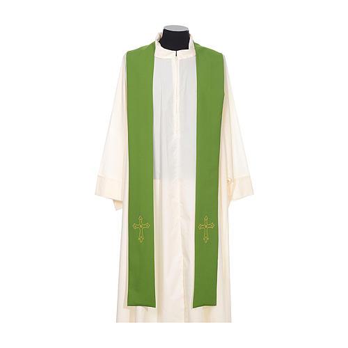 Étole de prêtre broderie simple sur deux côtés tissu Vatican 2