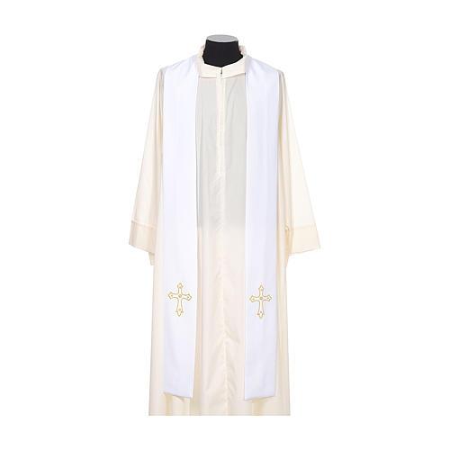 Étole de prêtre broderie simple sur deux côtés tissu Vatican 5
