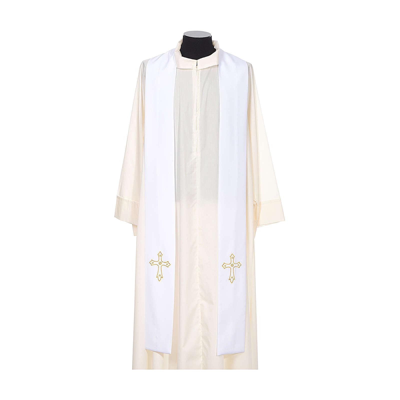 Stola sacerdotale ricamo semplice su due lati tessuto Vatican 4