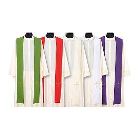 Estola sacerdotal bordado simples ambos lados tecido Vatican s1