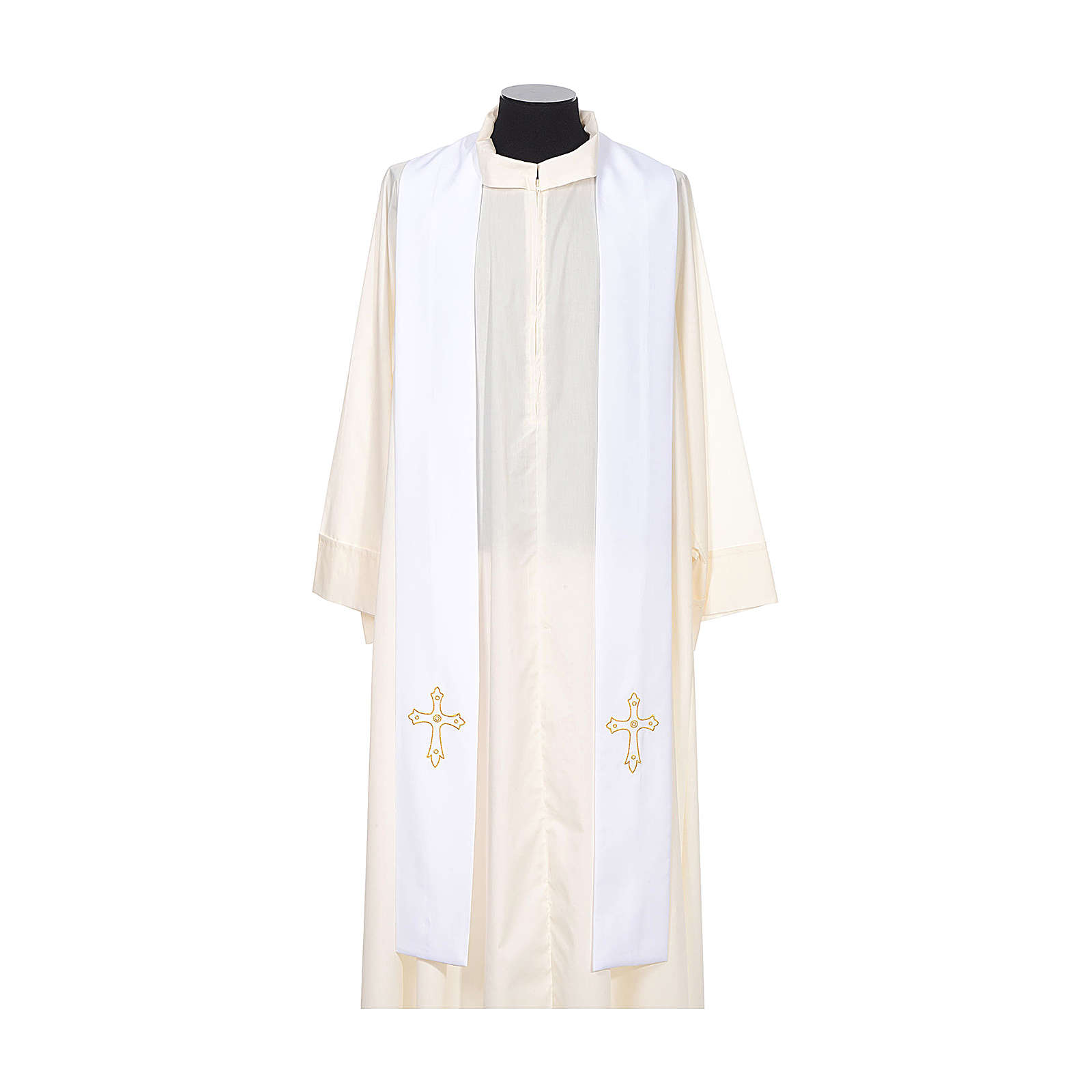 Clergy Stole with gold cross embroideren on both panels 4